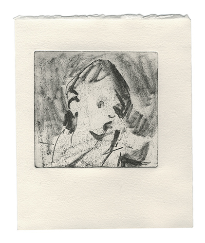 Soft-ground etching portrait on paper, printmaking