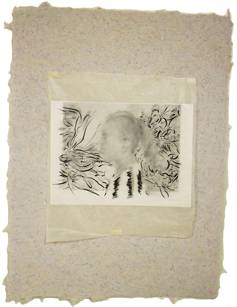 Profile of woman, collage, handmade paper, gampi, drawing, ink, pencil, inkjet
