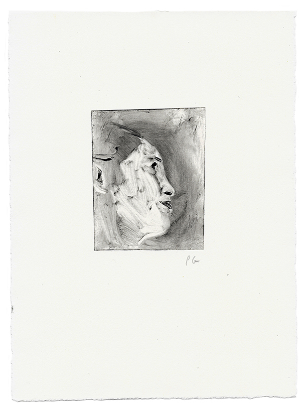 Profile of young person monotype on paper, printmaking
